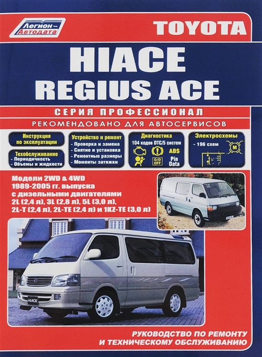 Toyota Hi-Ace 2WD 4WD 1989-2001 с диз двиг