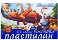 """Пластилин 24цв 420гр """"Фантазия"""" восковой, к/к, стек, Луч"""