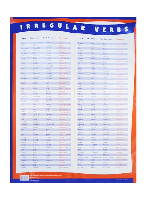 Плакат-таблица Английские неправильные глаголы А1