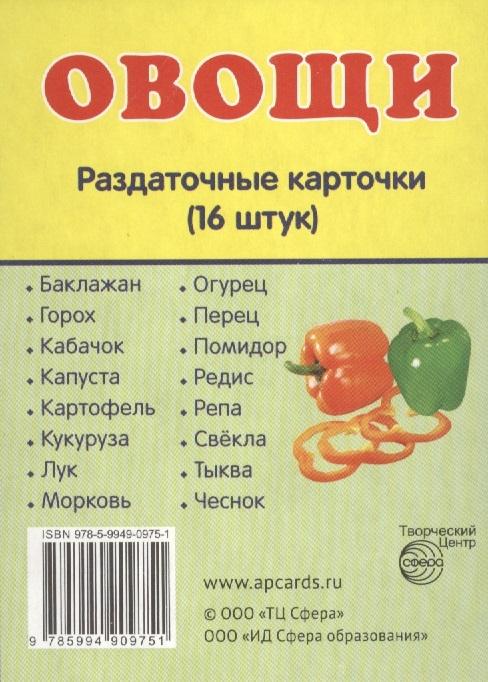 Овощи Раздаточные карточки 16 штук цены онлайн
