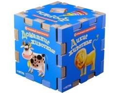 Развивающий кубик 6 книжек-пазлов Домашние животные Времена Года Цвета Дикие животные Формы игра цена в Москве и Питере