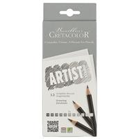 """Карандаши ч/гр 12шт """"Artist Studio Line"""" 4H,3H,2H,H,F,2xHB,B,2B,3B,4B,6B к/к, европодвес, Cretacolor"""