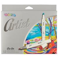 """Маркеры 12цв """"Artist"""" Sketch Marker, двухсторонние, кисть + пулевидный наконечник, к/к, европодвес"""
