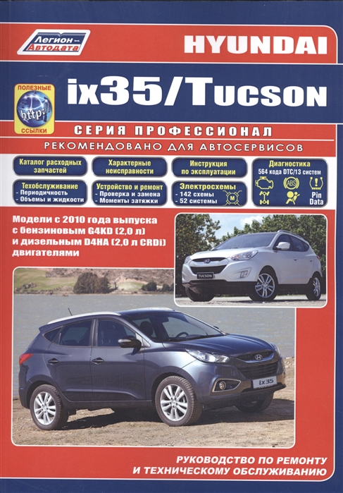 Hyundai ix35 Tucson Модели c 2010 года выпуска с бензиновым G4KD 2 0 л и дизельным D4HA 2 0 л CRDi двигателями Руководство по ремонту и техническому обслуживанию полезные ссылки