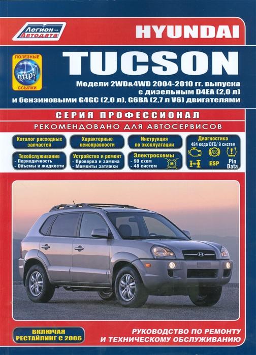 Hyundai Tucson Модели 2WD 4WD 2004-2010 гг выпуска с дизельным D4EA 2 0 л и бензиновыми G4GC 2 5 л G6BA 2 7 л V6 двигателями Руководство по ремонту и техническому обслуживанию полезные ссылки
