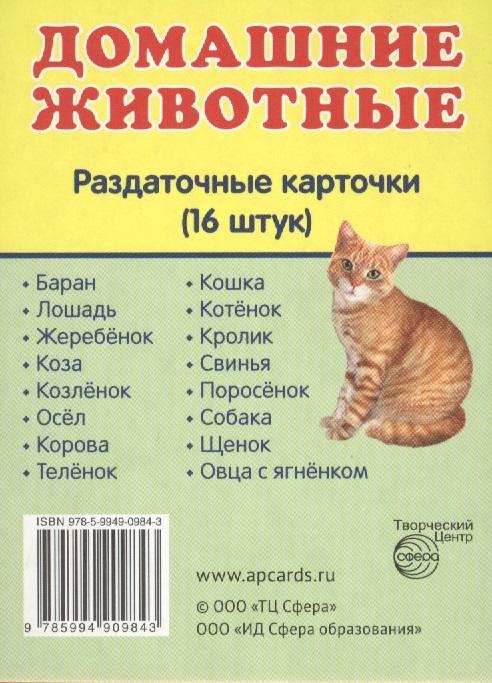 цена на Домашние животные Раздаточные карточки 16 штук