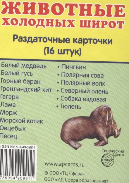 цена на Животные холодных широт Раздаточные карточки 16 штук