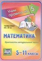 Математика. Кратность натуральных чисел. 5-11 классы. Таблица-плакат