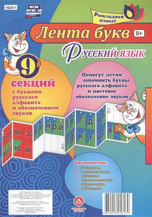 Лента букв Русский язык Раскладной плакат из 9 секций с буквами русского алфавита и обозначением звуков