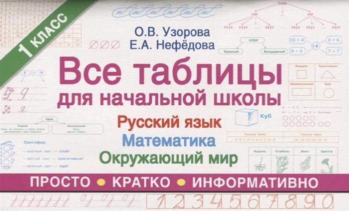 Узорова О., Нефедова Е. Все таблицы для начальной школы 1 класса Русский язык Математика Окружающий мир