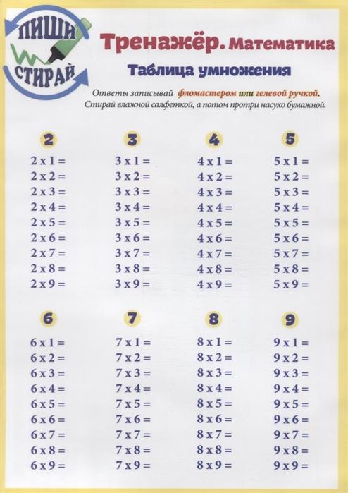 Красницкая А. (сост.) Справочные материалы Тренажер Математика Таблица умножения Таблица умножения вразброс таблица умножения справ материалы