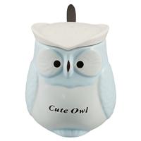 Кружка с крышкой и ложкой в форме совы Cute owl (керамика) (400 мл)