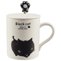 Кружка с крышкой и ложкой «Чёрный кот», 300 мл