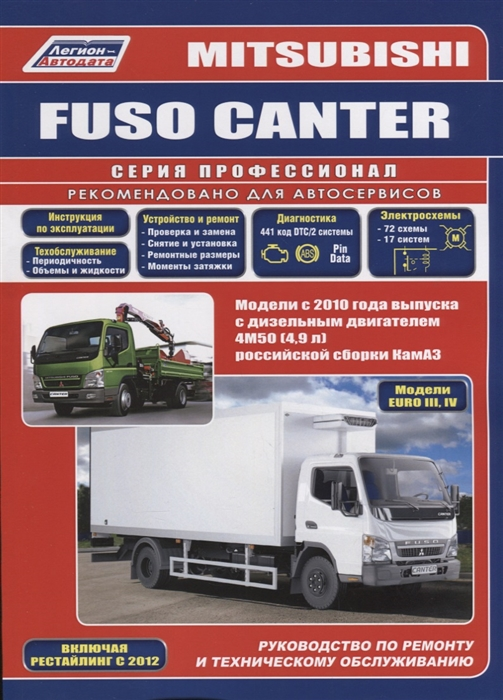 Mitsubishi Fuso Canter Модели с 2010 года выпуска с дизельным двигателем 4М50 4 9 л Евро III Евро IV совместного производства КамАЗ Включая рестайлинговые модели с 2012 г выпуска Руководство по ремонту и техническому обслуживанию