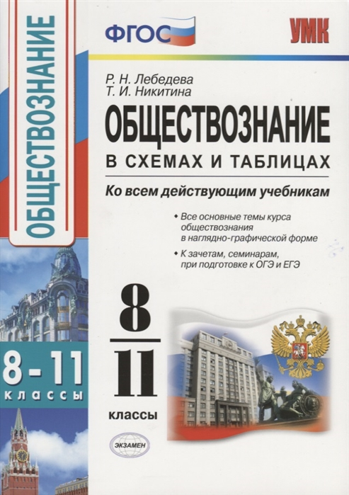 Лебедева Р., Никитина Т. Обществознание в схемах и таблицах 8-11 классы Ко всем действующим учебникам цена и фото