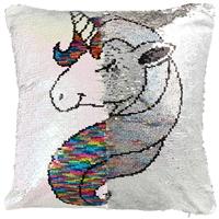 Подушка с пайетками «Единорог с разноцветной гривой», 40 х 40 см