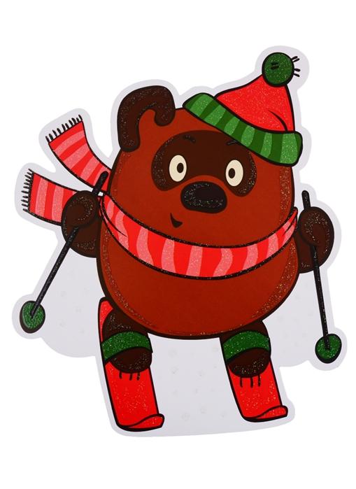 Купить Мини-плакат Винни Пух - лыжник, Сфера образования, Поделки и модели из бумаги. Аппликация. Оригами