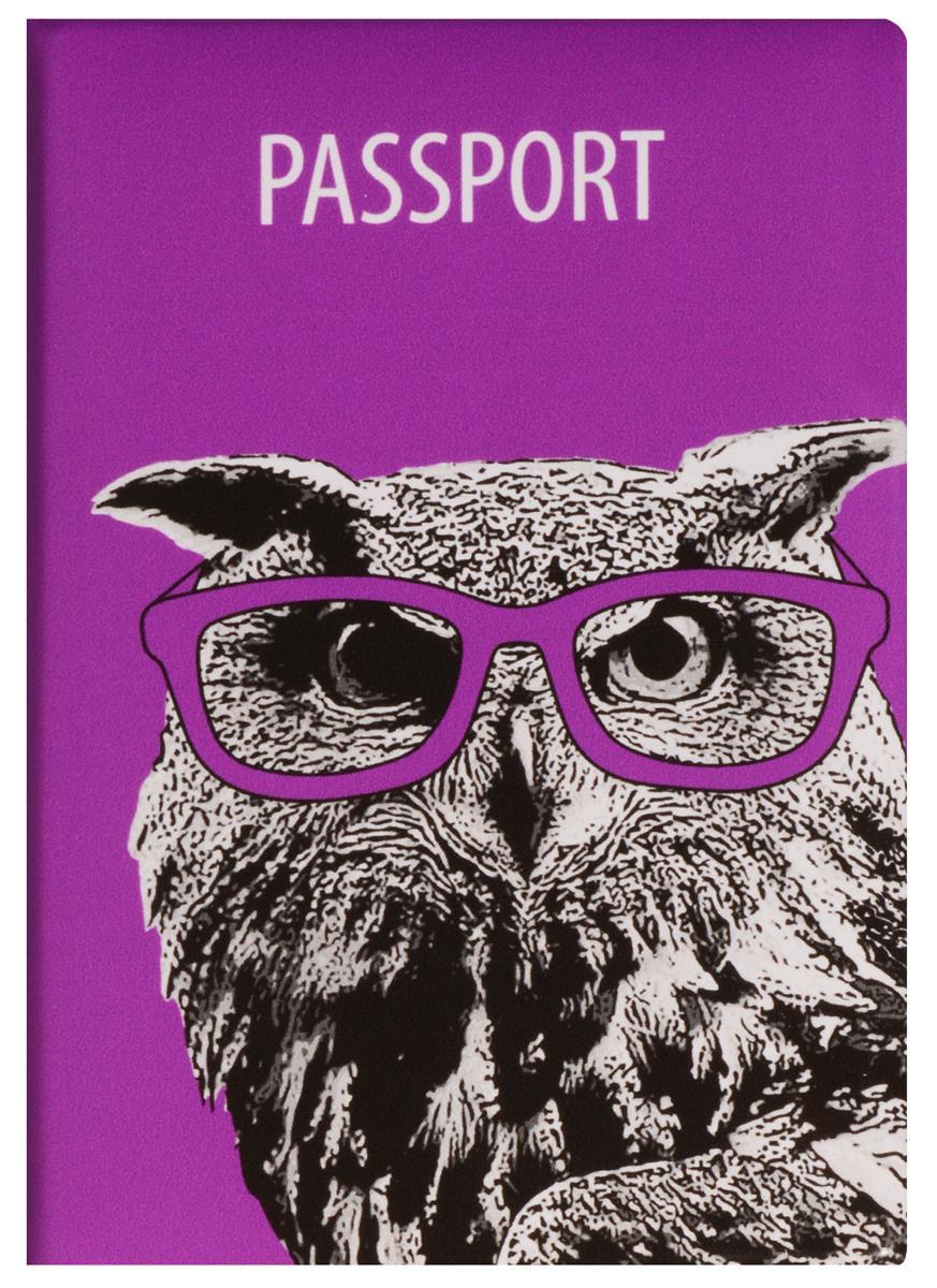 Обложка для паспорта Сова в очках (ПВХ бокс)