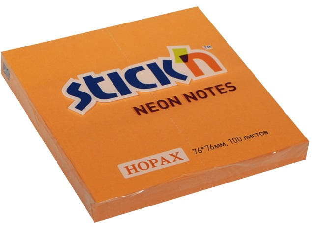 Бумага для записей STICK'N оранжевый, 100л.