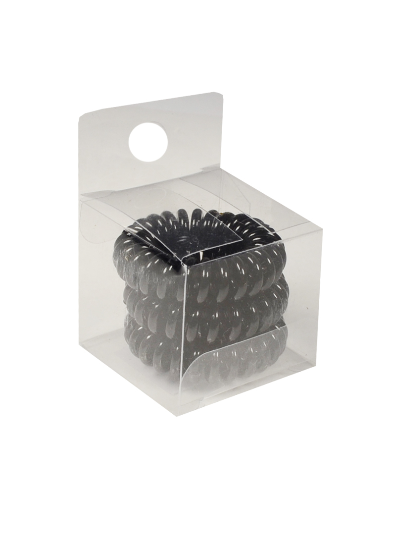 Резинка-браслет для волос черная (3шт) (ПВХ бокс)