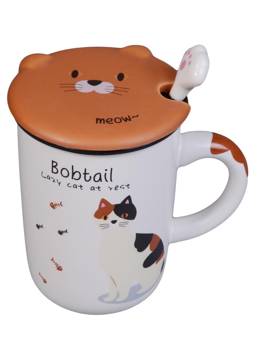 Кружка с крышкой и ложкой-лапкой Породы котов (керамика) (350мл)