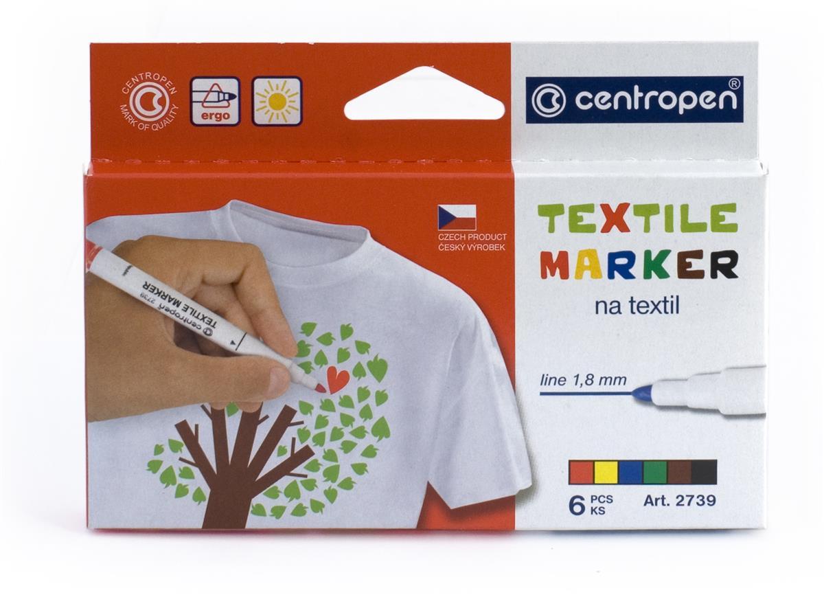 Маркеры 06цв для текстиля 1,8мм, пл/уп., подвес, Centropen