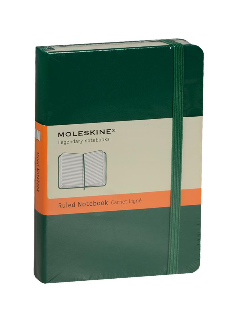 """Записная книжка А6 96л лин. """"Classic Pocket"""" зеленая, жесткая обложка, резинка, Moleskine"""