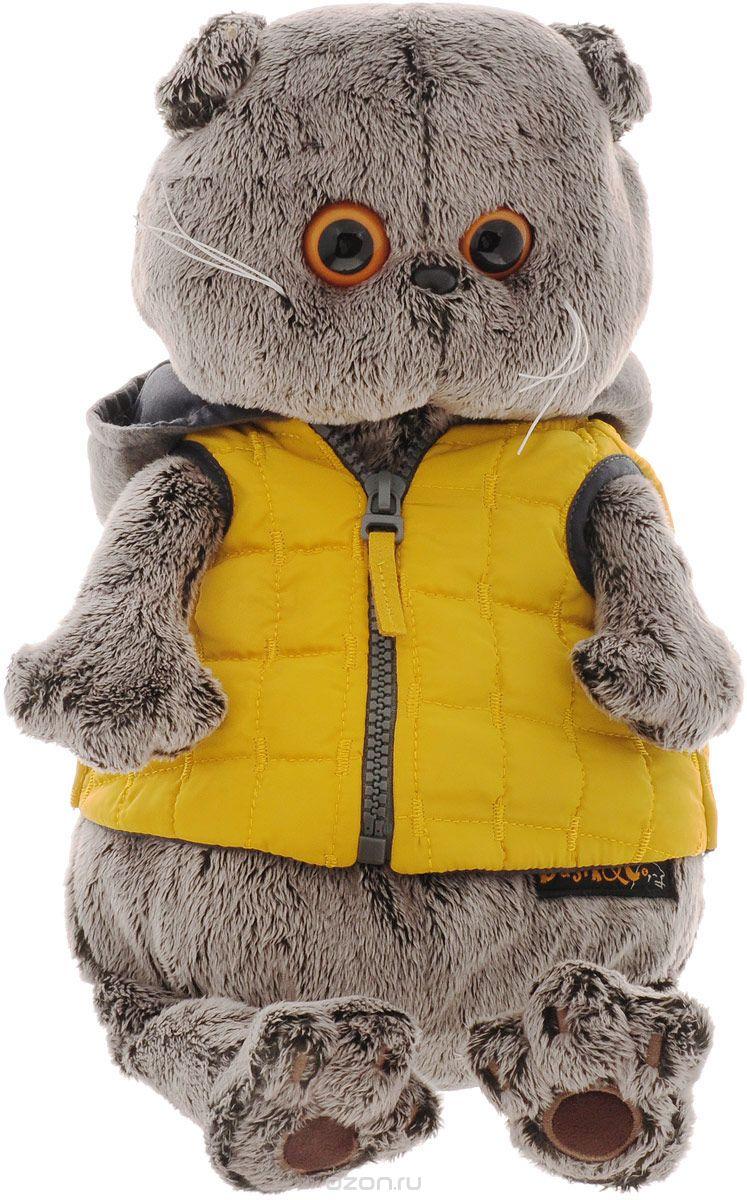 Мягкая игрушка Басик в желтой жилетке с серым капюшоном (19 см)