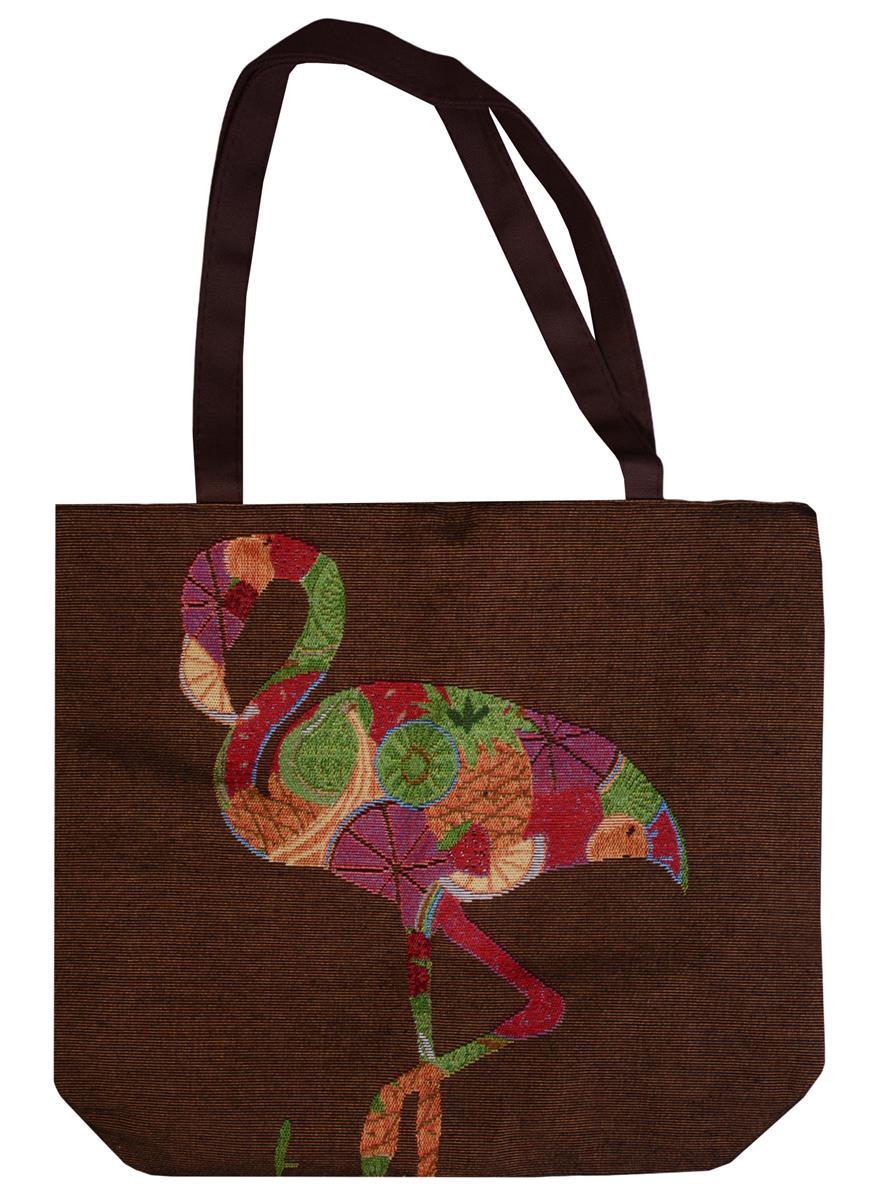 Сумка на молнии Фламинго из фруктов (43х40) (текстиль)