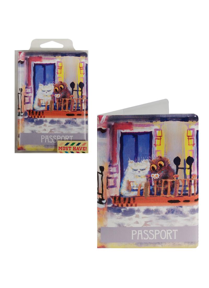 """Обложка для паспорта """"Cats in the City"""" (Коты на балконе) (ПВХ бокс)"""