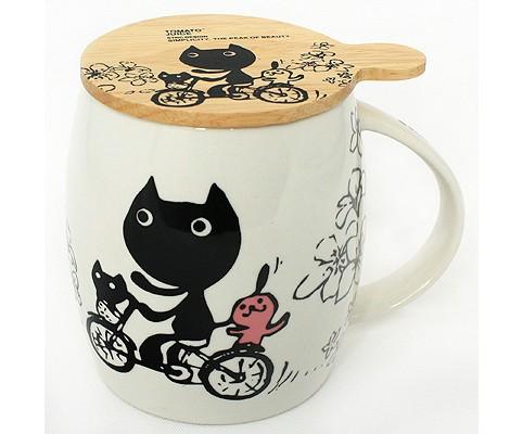 Кружка с крышкой Кошка на велосипеде (SN001) (Ритейл Айдиа)