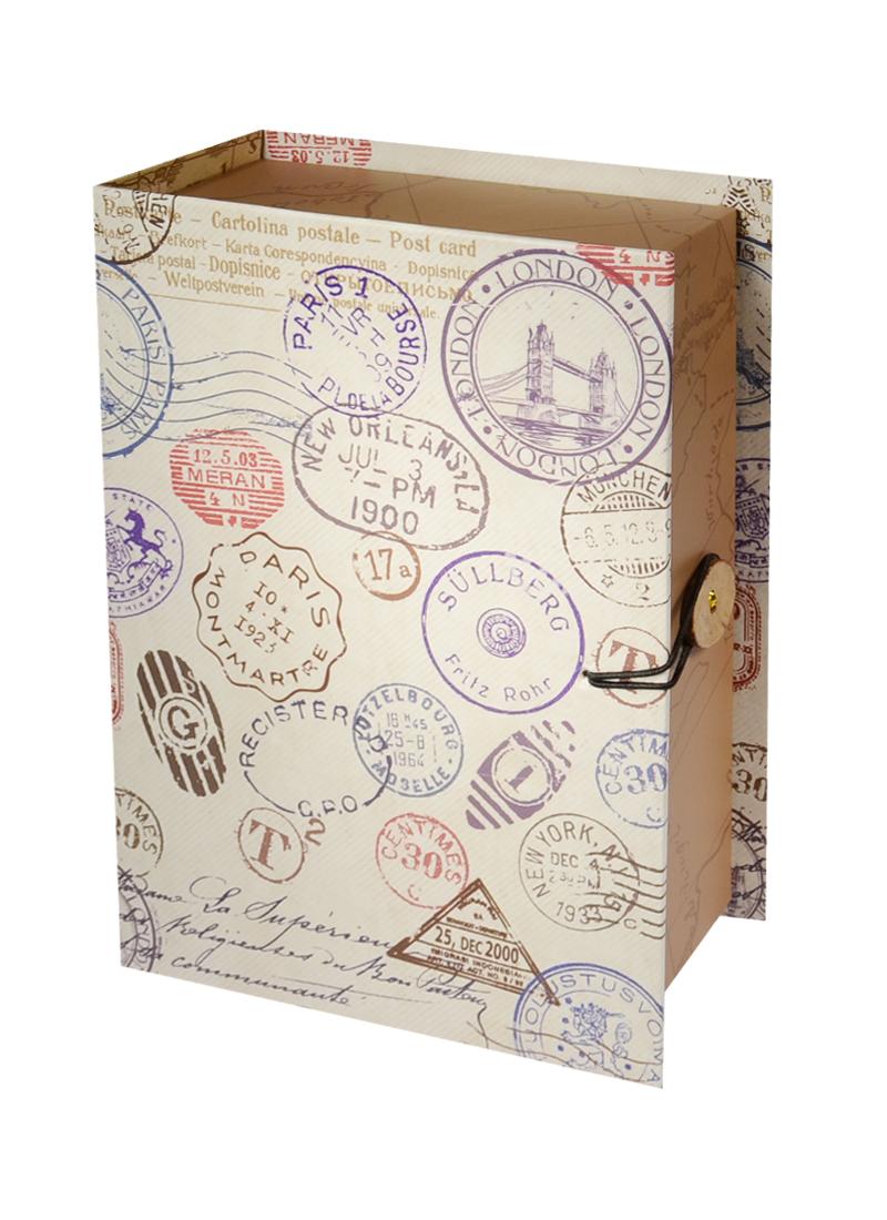 Шкатулка-книга с пуговицей картон S ШТАМП (18х12х5см)