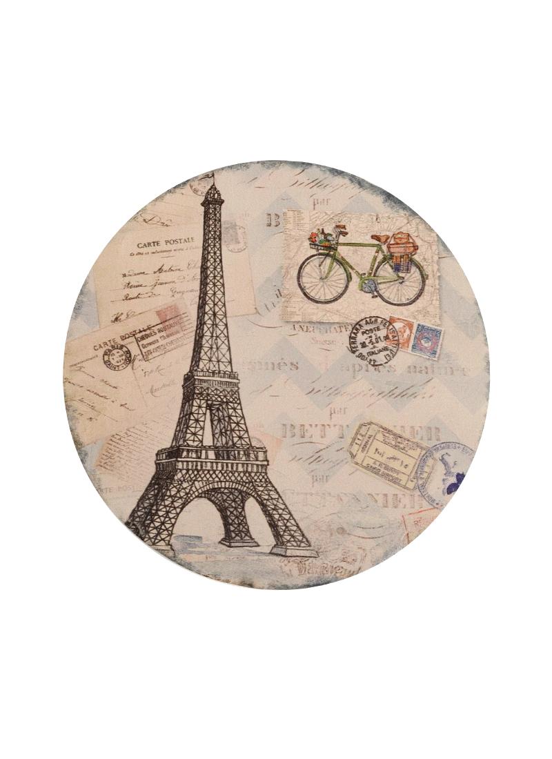 Подставка под кружку Париж с велосипедом (круглая с рельефными краями) (11см)