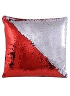 Подушка с пайетками красная с серебром (37х37)