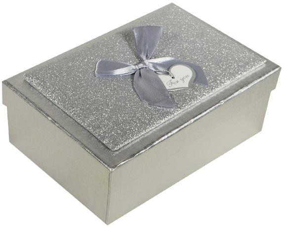 "Коробка подарочная ""Металлик серебро"" 12,5*19,5*6,5см"