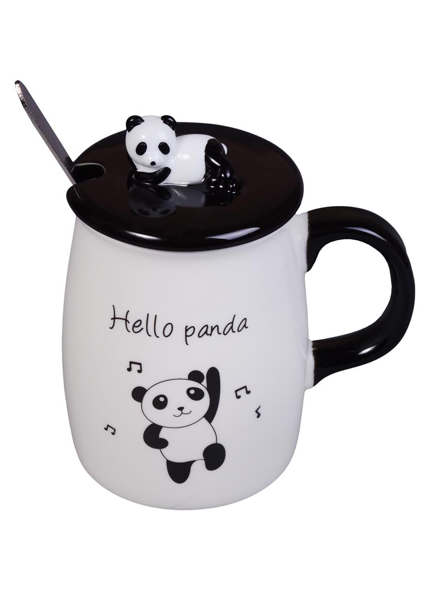 Кружка с крышкой и ложкой Hello Panda (керамика) (400мл)