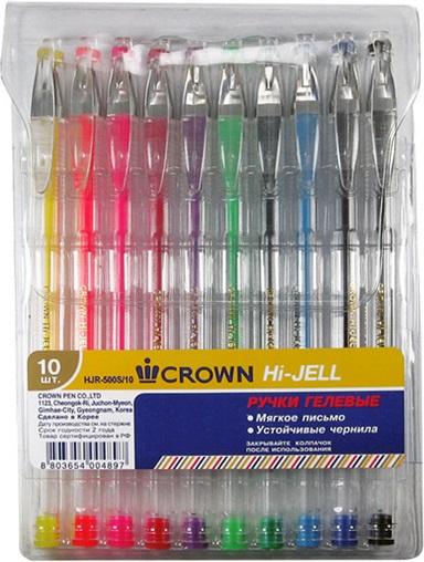 Ручки гелевые 10 цв., CROWN