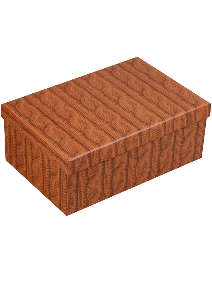 """Коробка подарочная """"Вязаные косички, горчичный"""""""