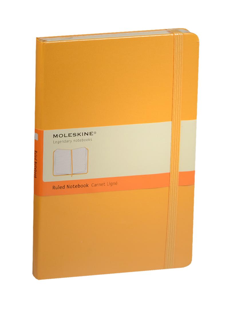 """Книга для записей А5 120л лин. """"Classic Large"""" желтая, жесткая обложка, резинка, Moleskine"""