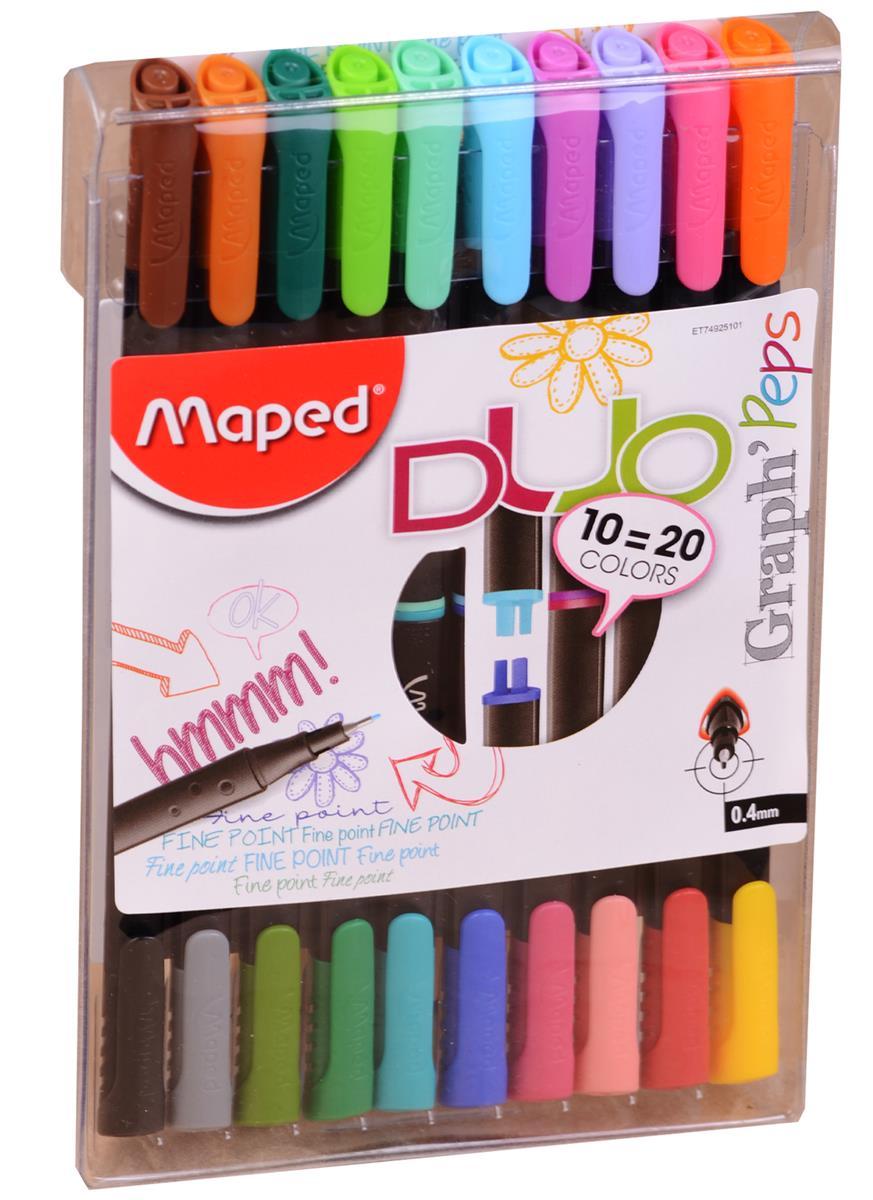 Ручки капиллярные двусторонние Graph Peps DUO, 20 цветов