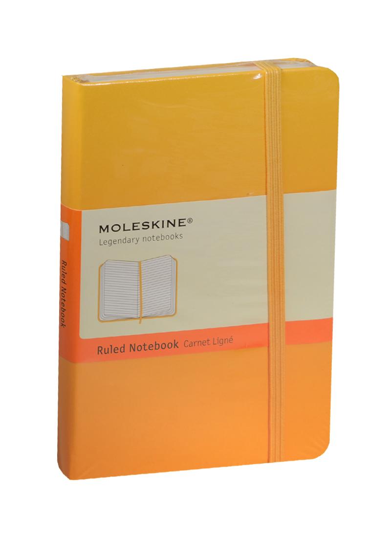 """Записная книжка А6 96л лин. """"Classic Pocket"""" желтая, жесткая обложка, резинка, Moleskine"""
