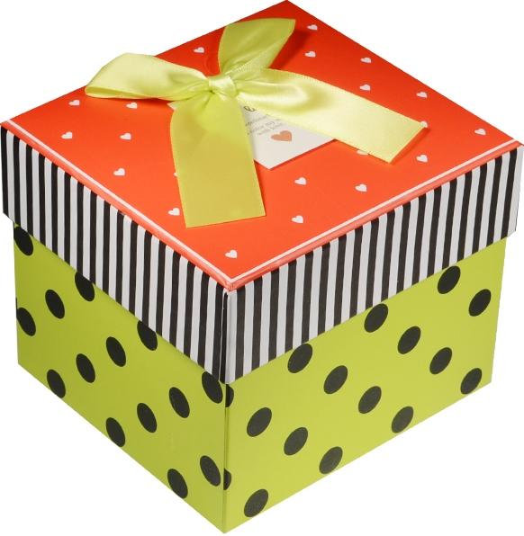 """Коробка подарочная """"Сердечки и горошек"""" красная крышечка 11*10*8.5см"""