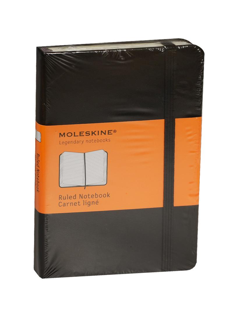 """Записная книжка А6 96л лин. """"Classic Pocket"""" черная, жесткая обложка, резинка, Moleskine"""