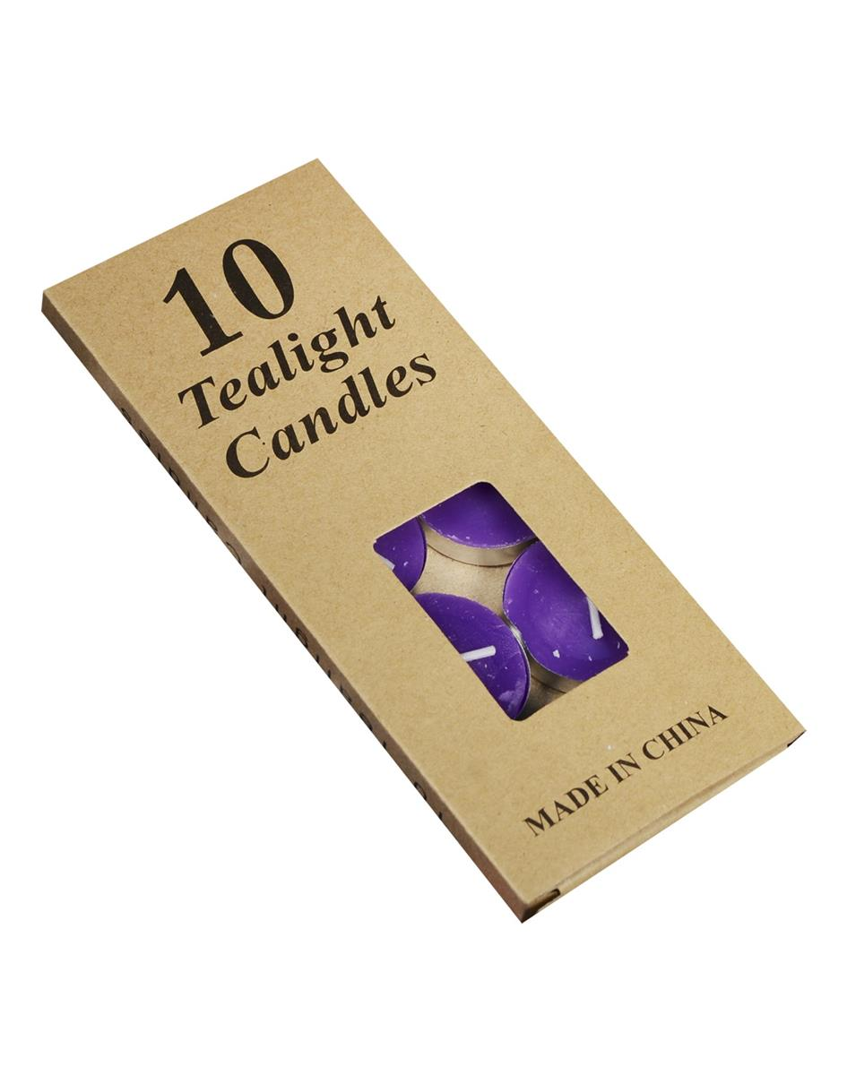 Набор чайных свечей в крафт коробке (10шт) (фиолетовые)