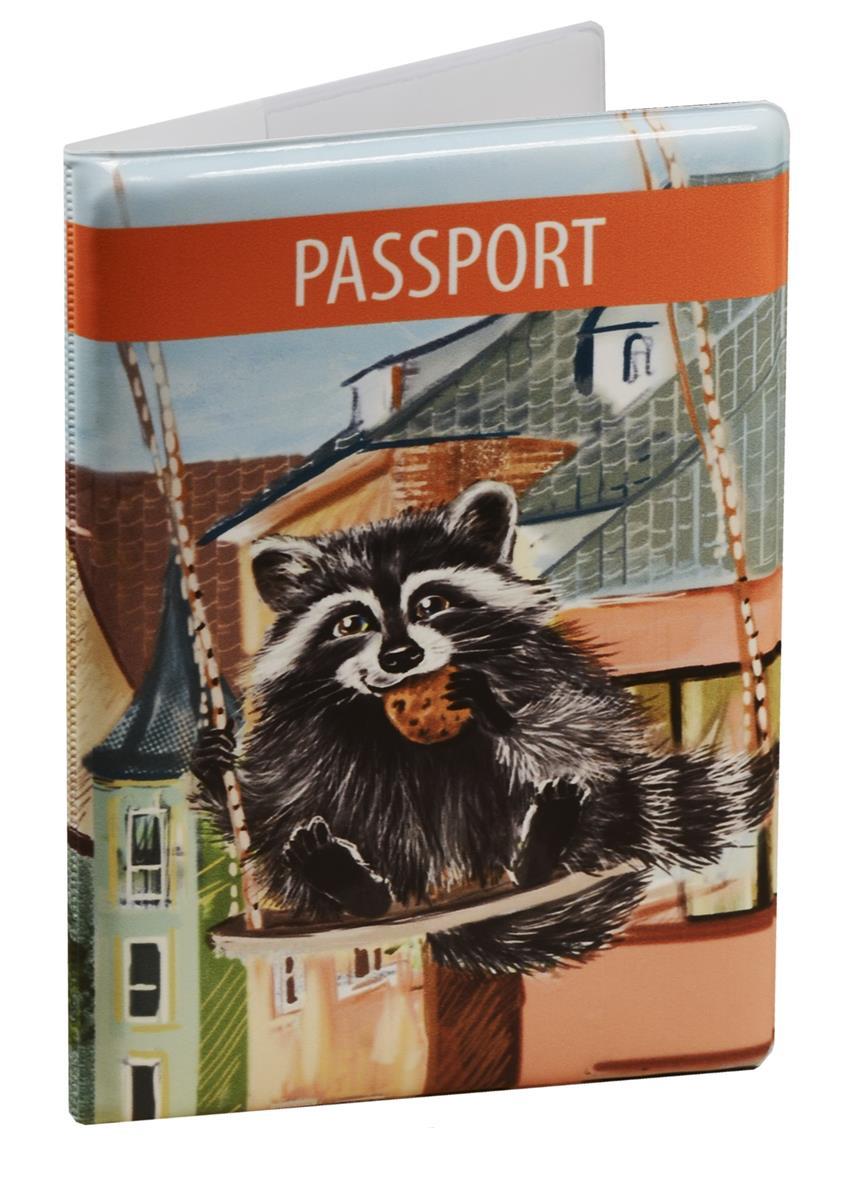 Обложка для паспорта Енот на качелях