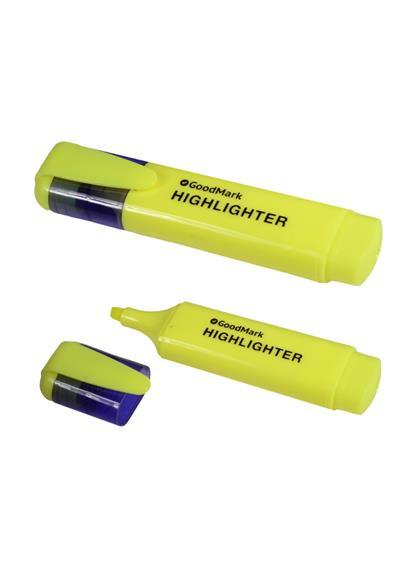 Текстовыделитель желтый 1-5мм, флюор., GoodMark