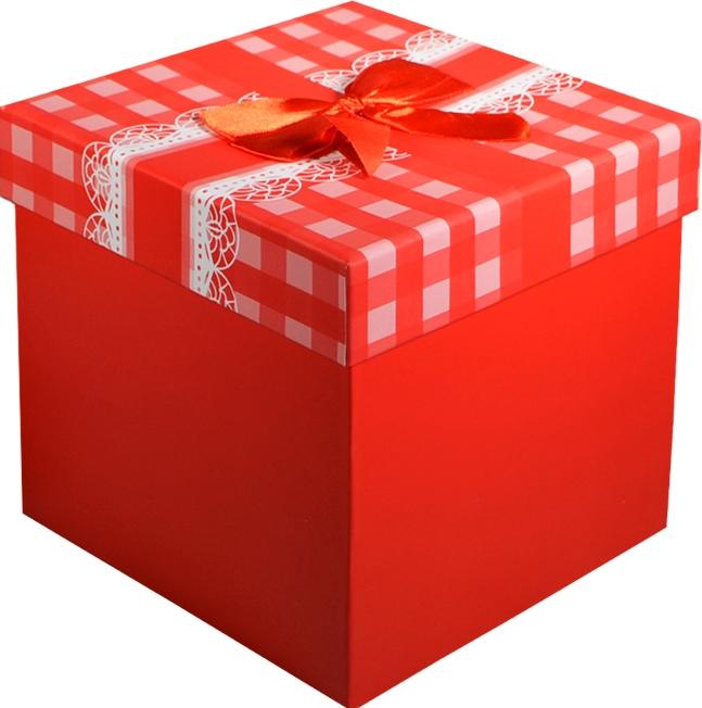 """Коробка подарочная """"Бант на красной клетке"""" 16*16*16см"""