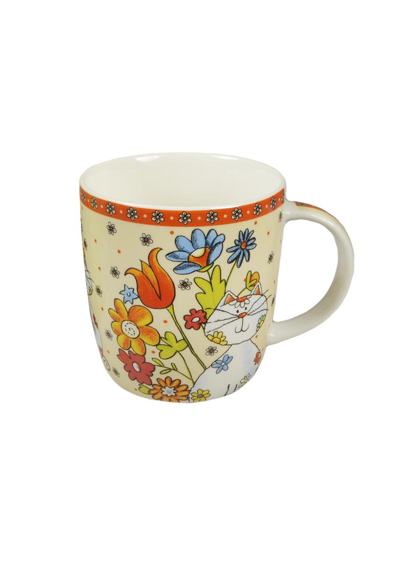 Кружка керамическая Кот с букетом в цветной коробке (350мл) (752205) (Сима-ленд)