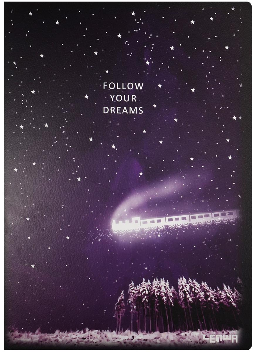 "Тетрадь А4 (В5) 48л кл. ""Follow your dreams"" карт.обл., тонир.внутр.блок, сшивка, LENWA"