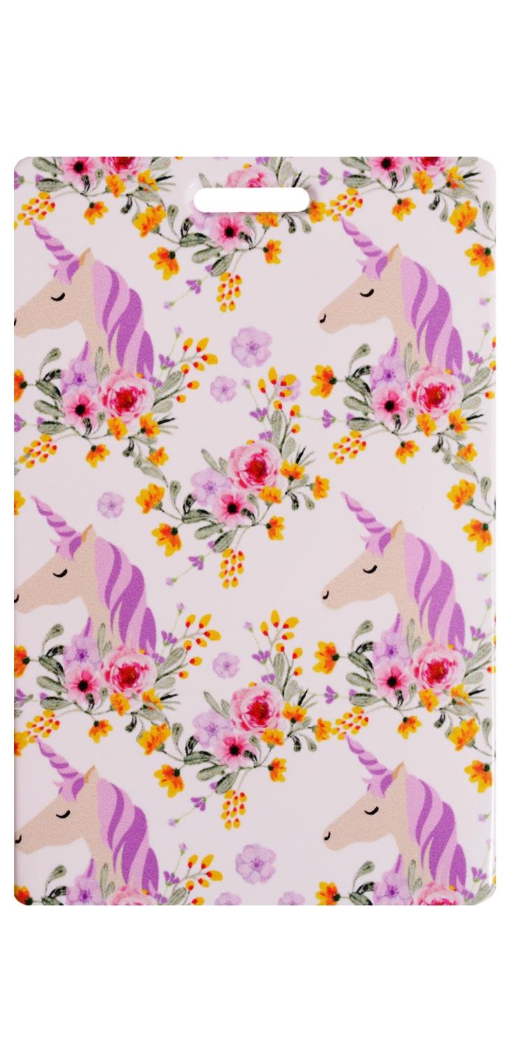 Чехол для карточек Единороги с цветами